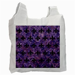 Royal1 Black Marble & Purple Marble Recycle Bag (one Side) by trendistuff
