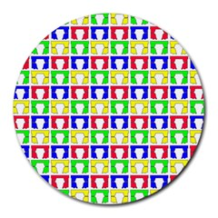 Colorful Curtains Seamless Pattern Round Mousepads