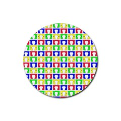 Colorful Curtains Seamless Pattern Rubber Round Coaster (4 Pack)