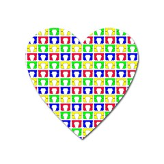 Colorful Curtains Seamless Pattern Heart Magnet by Amaryn4rt