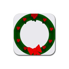 Holiday Wreath Rubber Coaster (square)  by Amaryn4rt