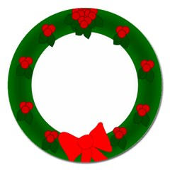 Holiday Wreath Magnet 5  (round) by Amaryn4rt