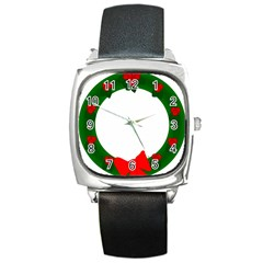 Holiday Wreath Square Metal Watch