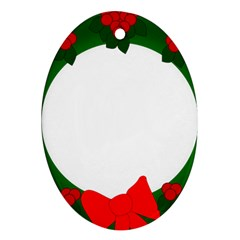 Holiday Wreath Oval Ornament (two Sides)