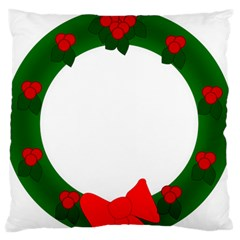 Holiday Wreath Large Flano Cushion Case (two Sides) by Amaryn4rt