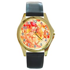 Monotype Art Pattern Leaves Colored Autumn Round Gold Metal Watch by Amaryn4rt