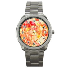 Monotype Art Pattern Leaves Colored Autumn Sport Metal Watch by Amaryn4rt