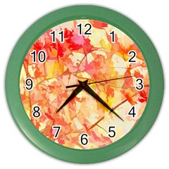 Monotype Art Pattern Leaves Colored Autumn Color Wall Clocks