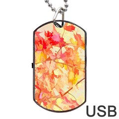 Monotype Art Pattern Leaves Colored Autumn Dog Tag Usb Flash (two Sides)  by Amaryn4rt