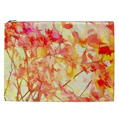 Monotype Art Pattern Leaves Colored Autumn Cosmetic Bag (xxl)