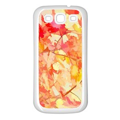 Monotype Art Pattern Leaves Colored Autumn Samsung Galaxy S3 Back Case (white)