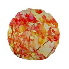 Monotype Art Pattern Leaves Colored Autumn Standard 15  Premium Flano Round Cushions by Amaryn4rt