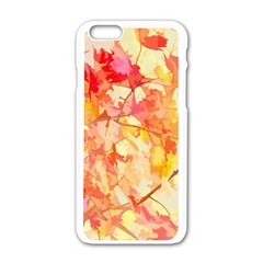 Monotype Art Pattern Leaves Colored Autumn Apple Iphone 6/6s White Enamel Case by Amaryn4rt