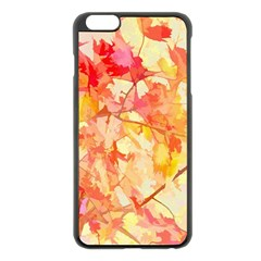 Monotype Art Pattern Leaves Colored Autumn Apple Iphone 6 Plus/6s Plus Black Enamel Case by Amaryn4rt
