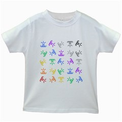 Rainbow Clown Pattern Kids White T Shirts