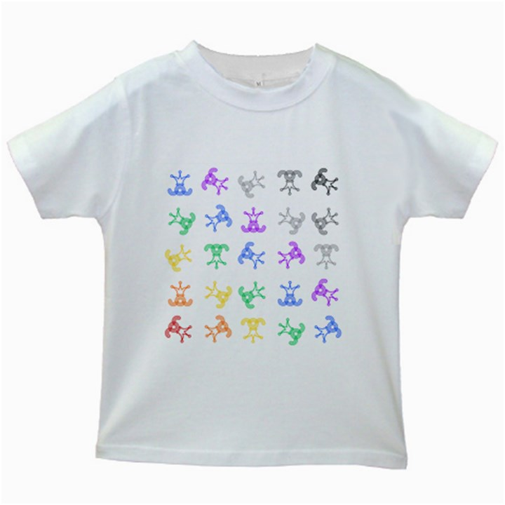 Rainbow Clown Pattern Kids White T-Shirts