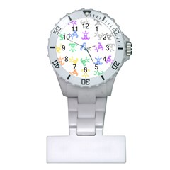 Rainbow Clown Pattern Plastic Nurses Watch