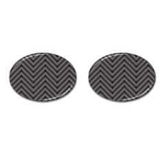 Background Gray Zig Zag Chevron Cufflinks (oval)