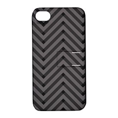 Background Gray Zig Zag Chevron Apple Iphone 4/4s Hardshell Case With Stand
