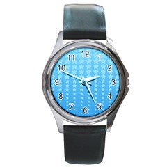 Blue Stars Background Round Metal Watch