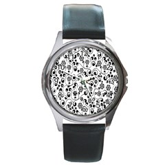Black White Floral Round Metal Watch