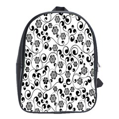 Black White Floral School Bags(large)