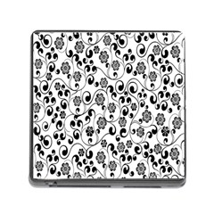 Black White Floral Memory Card Reader (square)