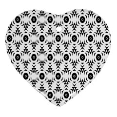 Black White Flower Heart Ornament (2 Sides) by AnjaniArt