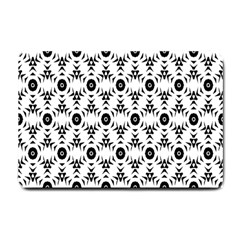 Black White Flower Small Doormat  by AnjaniArt