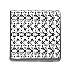 Black White Flower Memory Card Reader (square)