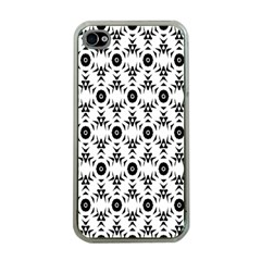 Black White Flower Apple Iphone 4 Case (clear)