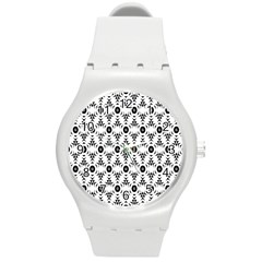 Black White Flower Round Plastic Sport Watch (m) by AnjaniArt