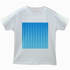 Blue Stars Background Line Kids White T Shirts by AnjaniArt