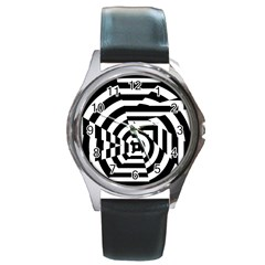 Broken Mirror Round Metal Watch by AnjaniArt