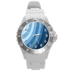 Blue Wave Round Plastic Sport Watch (l)