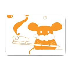 Brushing Teeth Mouse Orange Small Doormat  by AnjaniArt