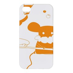 Brushing Teeth Mouse Orange Apple Iphone 4/4s Premium Hardshell Case