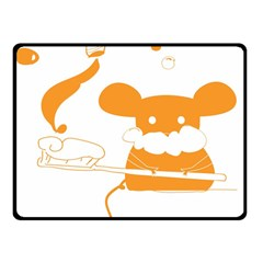Brushing Teeth Mouse Orange Double Sided Fleece Blanket (small)  by AnjaniArt