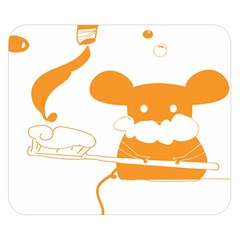 Brushing Teeth Mouse Orange Double Sided Flano Blanket (small)  by AnjaniArt