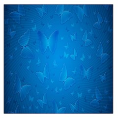 Butterflies Blue Butterfly Large Satin Scarf (square) by AnjaniArt