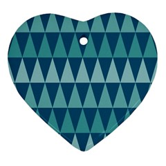 Blues Long Triangle Geometric Tribal Background Ornament (heart)