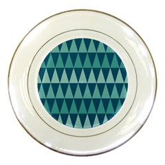 Blues Long Triangle Geometric Tribal Background Porcelain Plates by AnjaniArt