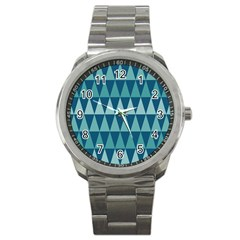 Blues Long Triangle Geometric Tribal Background Sport Metal Watch by AnjaniArt