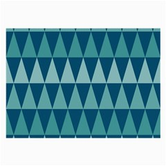 Blues Long Triangle Geometric Tribal Background Large Glasses Cloth (2 Side) by AnjaniArt