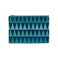 Blues Long Triangle Geometric Tribal Background Cosmetic Bag (medium)  by AnjaniArt
