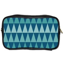 Blues Long Triangle Geometric Tribal Background Toiletries Bags 2 Side by AnjaniArt