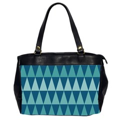 Blues Long Triangle Geometric Tribal Background Office Handbags (2 Sides)  by AnjaniArt