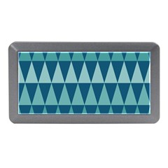 Blues Long Triangle Geometric Tribal Background Memory Card Reader (mini) by AnjaniArt