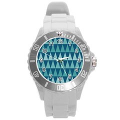 Blues Long Triangle Geometric Tribal Background Round Plastic Sport Watch (l)