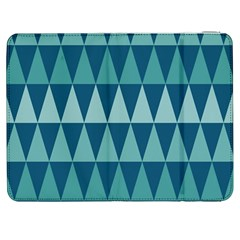 Blues Long Triangle Geometric Tribal Background Samsung Galaxy Tab 7  P1000 Flip Case by AnjaniArt